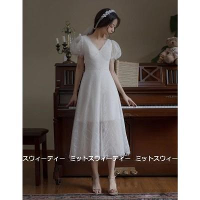 ウエディングドレス 二次会 花嫁 パフスリーブ 前撮り ウェディングドレス ミモレ丈ドレス 結婚式 エレガント 白 ホワイト シンプル リゾートドレス ワンピース