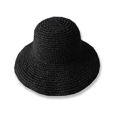 WHITE FANG(ホワイトファング) 麦わら 帽子 ハット セレブ 折りたたみ つば広 紫外線 UV 日よけ (09:ブラック サイズ)