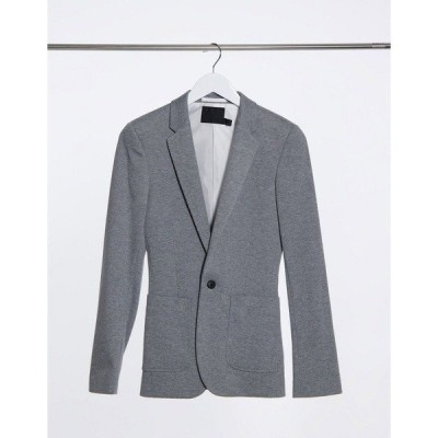 エイソス メンズ ジャケット&ブルゾン アウター ASOS DESIGN super skinny jersey blazer in gray Grey