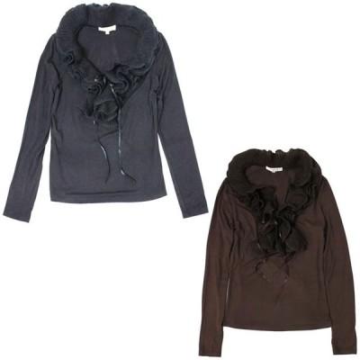 セール Tシャツ カットソー 長袖 トップ フリル ブラック ブラウン 送料無料