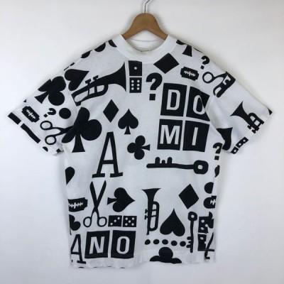 古着 Oui 総柄Tシャツ モックネック トランペット トランプ はさみ ホワイト系 メンズL 中古 n028830