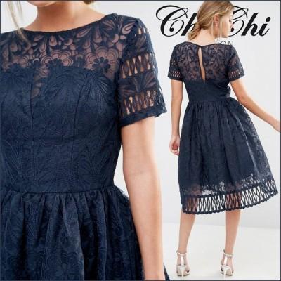 チチロンドン 姫系 エイソス ミディドレス 結婚式用ドレス ASOS Dresses for Weddings Chi Chi London Premium Lace Dress Cutwork Detail and Cap Sleeve チチ