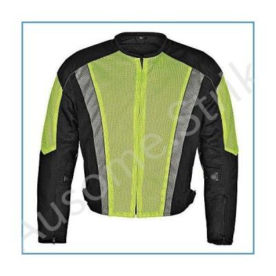 Men Motorcycle Mesh Race Jacket with CE Protection Neon Green Black MBJ054-1 (XL)【並行輸入品】