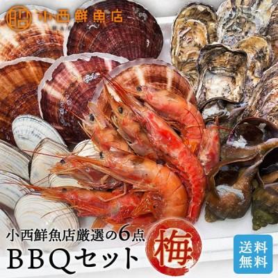 BBQセット 梅 (6点入) ホッケ 牡蠣 ホタテ 白貝 青つぶ エビ バーベキューセット 海鮮【送料無料】※沖縄県・離島は別途送料がかかります。