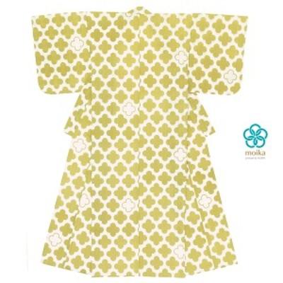 浴衣 レディース レトロ moika 黄緑 白 ホワイト 花 フラワー 小紋 綿 変わり織り 夏祭り 花火大会 女性用 仕立て上がり 送料無料