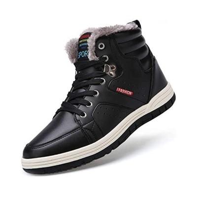 [ziitop] スノーブーツ メンズ ウィンターブーツ防水 防寒靴 スノーシューズ 防滑 アウトドアシューズ (ブラック 26.5 cm)