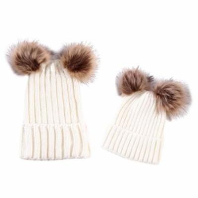 暖かいお母さん&新生児の子供の帽子かぎ針編みのhairballビーニー帽子2個 - ホワイト帽子