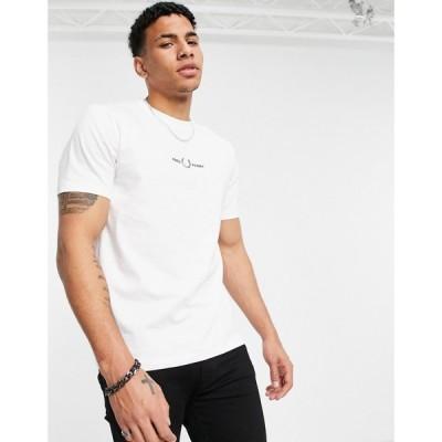 フレッドペリー Fred Perry メンズ Tシャツ トップス embroidered t-shirt in white ホワイト