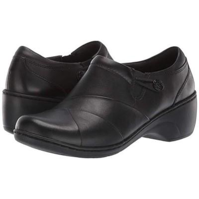 クラークス Channing Ann レディース クロッグ ミュール Black Leather/Enamel Button