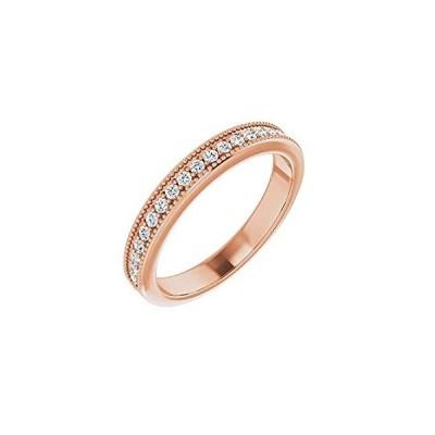 Solid 14k Rose Gold 1/5 Cttw Diamond Milgrain Ring Band (.20 Cttw) (Width =