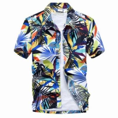 アロハシャツ メンズ スタンドカラー 半袖 柄 夏 薄手 花柄 ハワイ お兄系 カジュアルシャツ