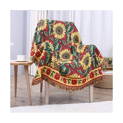 Red Sunflower Throw Blanket Tassels Tapestry Woven Cotton Sofa Bed Couch Chair Cover, Vintage Rural Blanket for Home Living Room Bedroom Tab