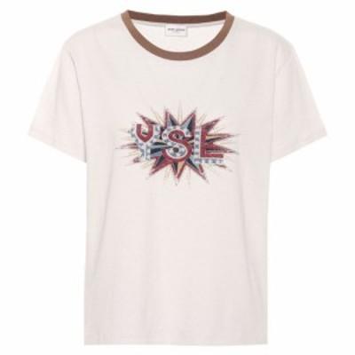 イヴ サンローラン Saint Laurent レディース Tシャツ トップス Printed cotton T-shirt Dirty Ecru/Multicolo