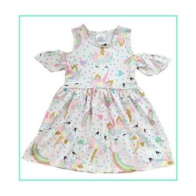 Toddler Girls Unicorn Rainbow Cold Shoulder Birthday Party Flower Girl Dress White 2T XS (P201405P)並行輸入品