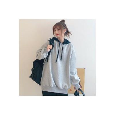 【送料無料】韓国風 カレッジ風 + 偽 フード付きセーター 女 秋と冬 学生 ルース 裏起毛 暖かい   346770_A64217-3980648