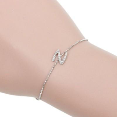 アルファベット ブレスレット K10WG メレダイヤモンド 0.094ct イニシャル N 本物保証 超美品 ノーブランド No brand