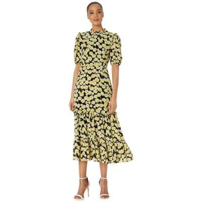 ドナモーガン レディース ドレス  Short Ruffle Sleeve Georgette Dress with Tiered Skirt and Ruffle Neck