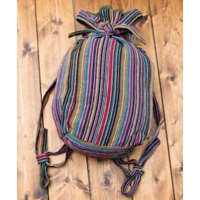 ネパールゲリのバックパック 紫系ストライプ / リュックサック ファッション インド バッグ かばん ポーチ エスニック アジア