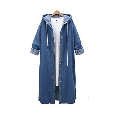 QZUnique Women's Long Denim Coat with Hood Long Sleeve Windbreaker Plus Siz