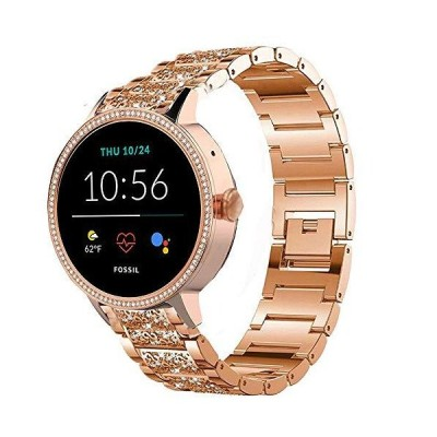 Compatible for Fossil Women Gen 5E Band, YOUkei Jewelry Metal Rhinestone Diamond Bling Compatible for Fossil Women's Gen 5E 42mm Smartwatch