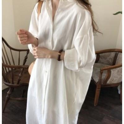 【ワンピース】コットンリネン ロングスカート オーバーサイズ カーディガン シャツドレス  白