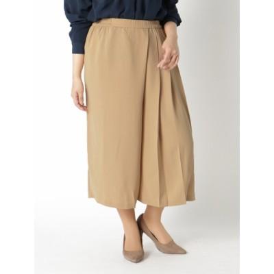【大きいサイズ】【L-3L展開】ラップ風プリーツ入りスカーチョ 大きいサイズ スカート レディース
