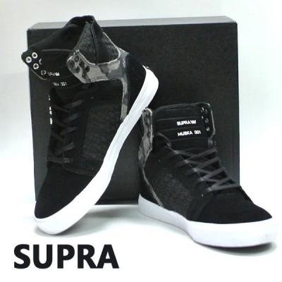 SUPRA/スープラ SKYTOP BLACK/CAMO WHITE 靴 スケートボードシューズ スニーカー 016 [サイズのある場合のみ交換可能 返品キャンセル一切不可]
