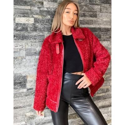 キューイーディーロンドン レディース ジャケット・ブルゾン アウター QED London faux-fur aviator jacket in red