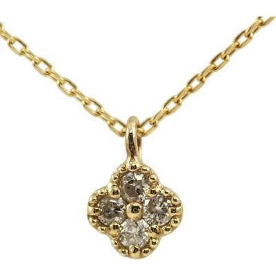 K10 10金 YG イエローゴールド ダイヤモンド フラワー ネックレス 人気 ギフト プレゼント ご褒美 PDCT-019 エクセルワールド アクセサリー プレゼントにも