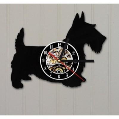 送料無料 30cm レコード盤 壁掛け時計 スコティッシュ テリア 犬 ドッグ 家族 人気 おしゃれ インテリア ディスプレイ