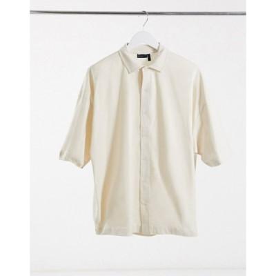 エイソス メンズ シャツ トップス ASOS DESIGN oversized half sleeve jersey shirt in beige