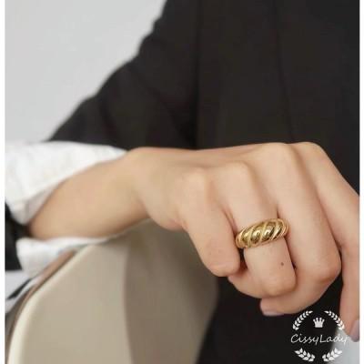★CICI★18kgp ねじり 膨らむ 指輪 リング  ring  ギフト 18金仕上げ ゴールド 大人 妻 彼女 カジュアル