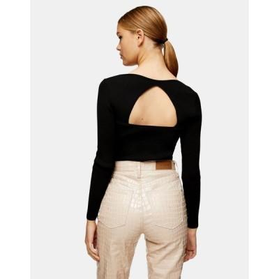 トップショップ おでかけトップス レディース Topshop square neck knitted top in black エイソス ASOS ブラック 黒