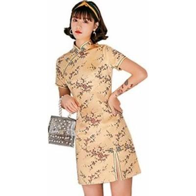 チャイナ服 ミニ TRTRO チャイナドレス ショート ファッションデザイン チーパウ Qipao 旗袍 サテン 膝上 (梅柄金色, M)
