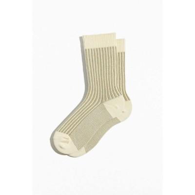 アーバンアウトフィッターズ Urban Outfitters メンズ ソックス インナー・下着 contrast knit textured rib sock Cream