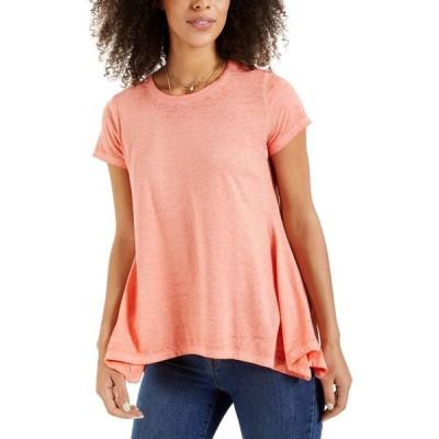スタイル&コー Style & Co レディース Tシャツ トップス Burnout Handkerchief-Hem T-Shirt Orange Shade