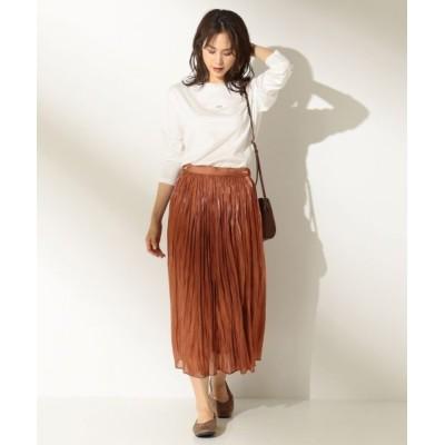 any FAM/エニィファム 【洗える】シャイニーサテン スカート ブラウン系 1