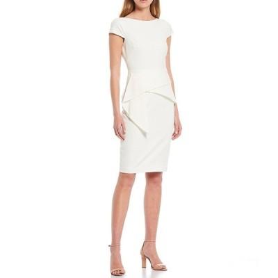 ヴィンスカムート レディース ワンピース トップス Cap Sleeve Foldover Waist Bi-Stretch Sheath Dress Ivory