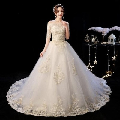 体型カバー ワンピース イブニングドレス ロング フォーマル パーティードレス 結婚式 同窓会 二次会 花嫁プリンセスライン ウエディングドレス ブライダル 冠婚