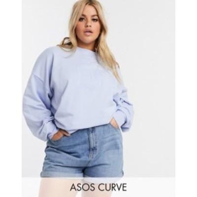 エイソス レディース パーカー・スウェット アウター ASOS DESIGN Curve oversized sweat in wash with tonal Berlin embroidery Blue