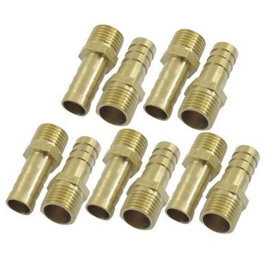 uxcell オスホース口 10mmホース口 13mmPTネジ径 ゴールドトーン ブラス オス 10個
