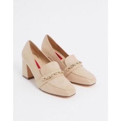 ロンドン レーベル London Rebel レディース ローファー・オックスフォード シューズ・靴 Chain Detail Heeled Loafers In Beige