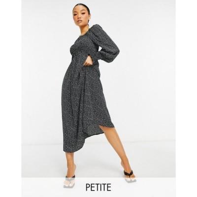 ミスガイデッド ミディドレス レディース Missguided Petite midi dress in black dalmatian エイソス ASOS ブラック 黒
