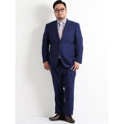(GRAND-BACK/グランバック)【大きいサイズのメンズ服・グランバック】青無地ノータック2パンツスーツ/メンズ ブルー