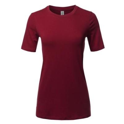 レディース 衣類 トップス A2Y Women's Basic Solid Premium Cotton Short Sleeve Crew Neck T Shirt Tee Tops Cabernet S