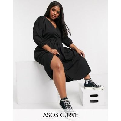 エイソス ドレス 大きいサイズ レディース ASOS DESIGN Curve midi smock dress with wrap top in black エイソス ASOS ブラック 黒
