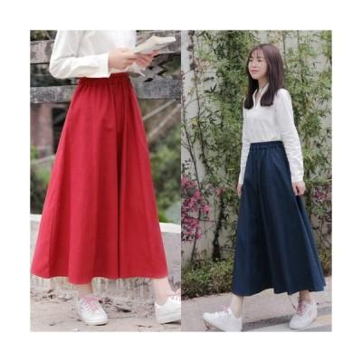 フレアスカート 大きいサイズ ミモレ丈 黒 赤  可愛い 10代 春新作スカート デート Aライン 服 レディース cr0086