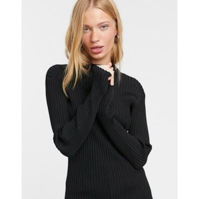 ウィークデイ レディース ニット・セーター アウター Weekday Zion ribbed knitted sweater with mock neck in black
