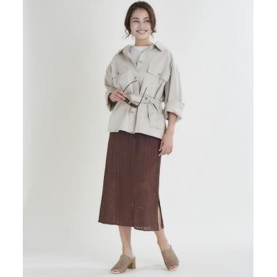 (CLEAR IMPRESSION/クリアインプレッション)コットンクロスシャツジャケット/レディース ベージュ2