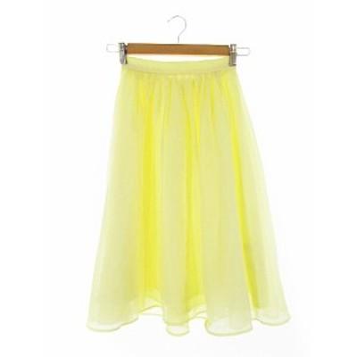 【中古】リランドチュール Rirandture スカート ギャザー ひざ丈 0 黄色 イエロー /AAM33 レディース